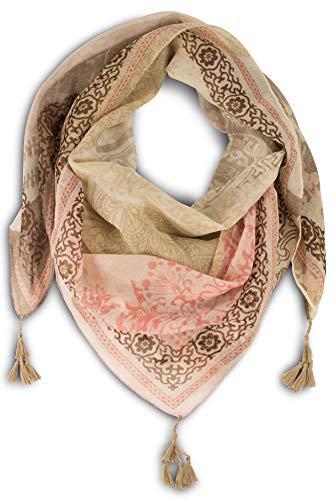 fashionchimp ® Damenschal mit Zier-Quasten und Muster-Mix Stickerei, Fransen-Schal, Dreieck-Tuch (Beige)