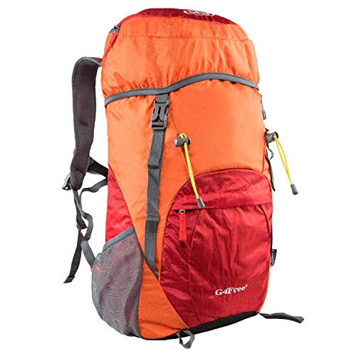 G4Free Lightweight Packable Hiking Backpack 40L Travel Camping Daypack Foldable (Orange/Red-Large)