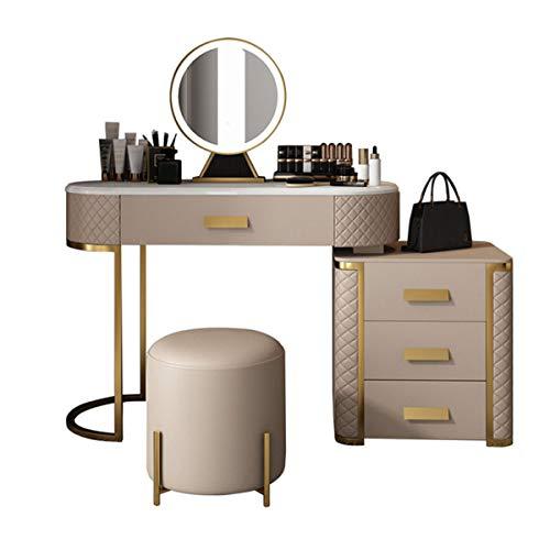 Premium Schminktisch Set Mit LED-Lichtspiegel - Make-Up Schminktisch Set Mit Einstellbarer Helligkeit Spiegel 4 Schubladen & Gepolsterter Hocker, Schlafzimmer Wohnzimmer Ankleidezimmer,Braun
