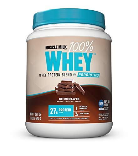 Muscle Milk 100% Whey Powder Protein Blend with Probiotics, Chocolate, 27g Protein, 1.85 Pound