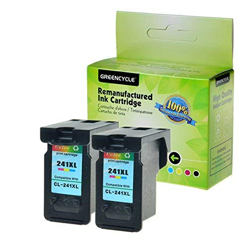 GREENCYCLE Remanufactured CL-241XL 241 XL Color Ink Cartridge Replacement Compatible for Canon PIXMA MG3620 MG3520 MG4220 MG3220 MG2220 MX392 MX432 MX452 MX472 MX512 MG3522 MX532 (2 Pack)