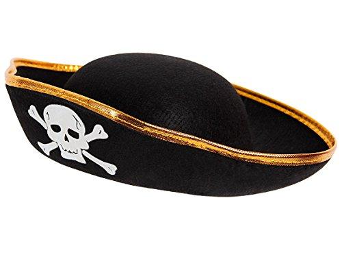 Alsino Totenkopf Piratenhut Seeräuber Pirat Hut Piratenparty Piratenkostüm, wählen:PH-02 schwarz Gold