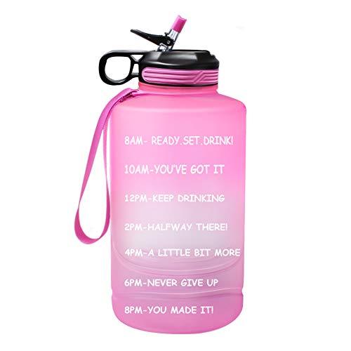 Case Wonder Botella de agua de medio galón de con marcador de tiempo y pajita, 74 onzas jarra de agua motivacional sin BPA con asa para fitness , gimnasio y deportes al aire libre