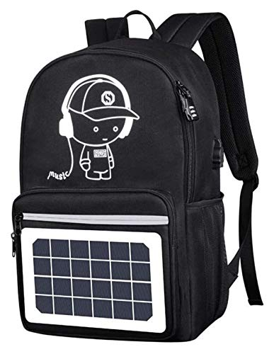 YCRCTC Multi-function Solar Panel Power Breathable Casual Backpack Laptop Bag School Bookbag for College Travel Backpack, With USB Charging Port