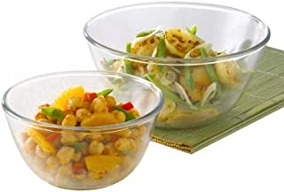 Borosil Glass Mixing Bowl - Set of 2 (500 ML + 1.3L) Oven and Microwave Safe