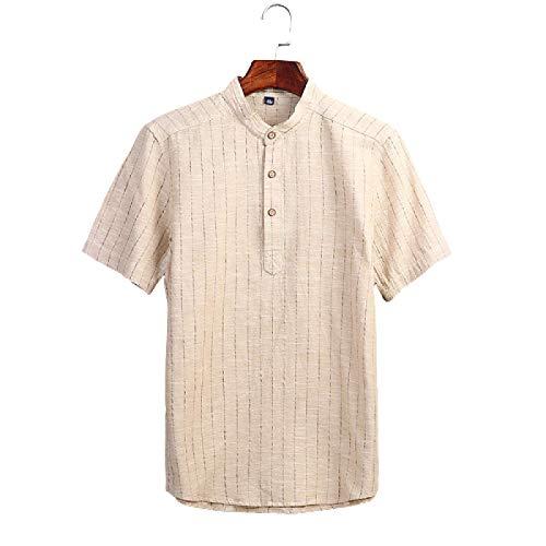 Camisa de Cuello Alto con Botones para Hombre Camisa de Manga Corta con Estampado de Rayas Retro Camisa de Moda Informal Transpirable Slim Fit 3X-Large
