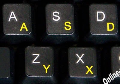 Swiss French German Keyboard Stickers Transparent Background Yellow Letters for Any Laptop Computer PC Desktop Notebook