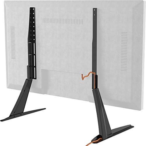 Hemudu Universal Table Top TV Stand Base VESA Pedestal Mount for 27 inch to 55 inch TVs with Cable Management and Height Adjustment,Holds up to 125lbs
