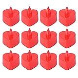 12pcs LED a forma di candela a forma di cuore romantico senza fiamma...