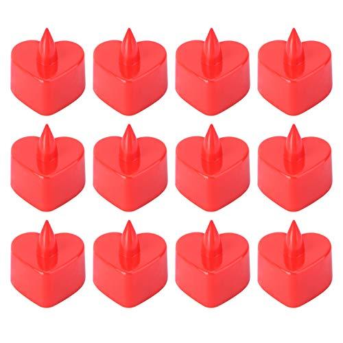 12pcs LED a forma di candela a forma di cuore romantico senza fiamma Tealight per il partito Decor Halloween (rosso)
