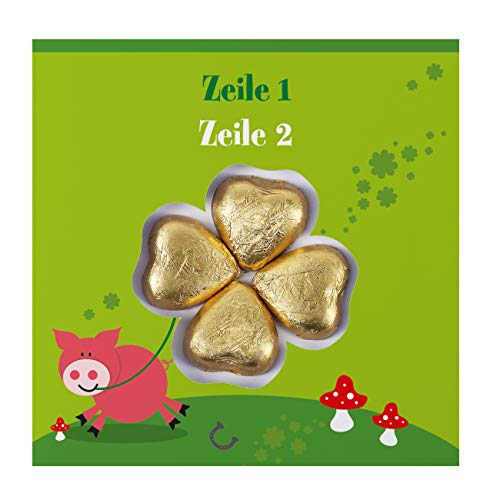 Herz & Heim® Viel Glück Karte - Süße Grüße - Grußkarte inkl. 4 Lindt Schokoladen-Herzen mit Wunschtext