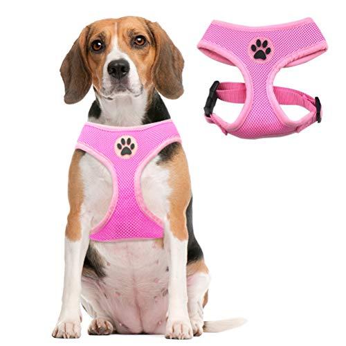 bingpet dog harness for cars Soft Mesh Dog Harness Pet Walking Vest Puppy Padded Harnesses Adjustable, Pink Medium