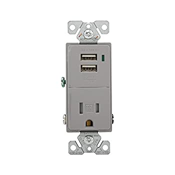 Eaton TR7740GY-BOX Combination Usb Charger with Tamper Resistant 15A 125V Receptacle Gray,