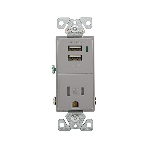 Eaton TR7740GY-BOX Combination Usb Charger with Tamper Resistant 15A 125V Receptacle, Gray,