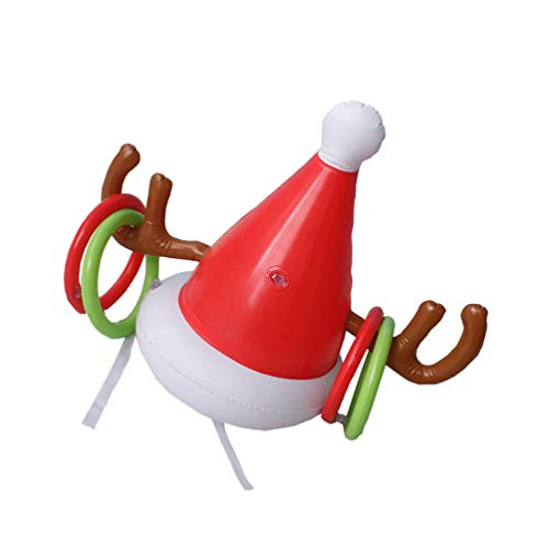 BESTOYARD Christmas Antler Hat Ring Toss Inflatable Reindeer Antler Ring Toss Game Christmas Party Games Winter Holiday Toys Gift for Kids