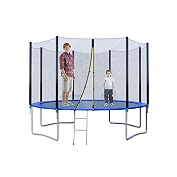 QCen Trampoline 12FT Recreation Trampoline Trampoline with Enclosure Net Bounce Jump Trampoline for Kids & Family Out Door Trampoline with Spring Pad Ladder  12FT