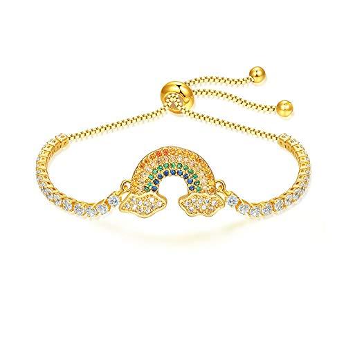 Deelan ファッショナブルな女性のレインボーブレスレットクリスタルジルコン調節可能なローズゴールドメッキ結婚式ジュエリーギフトブレスレット (18k gold color)