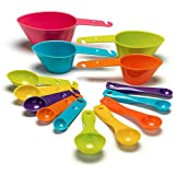 Juego de tazas y cucharas medidoras de plástico de 14 piezas, artilugios, cucharaditas, cucharadas de silicona.