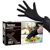 Hevea - Gants en nitrile jetables. Sans talc et sans latex. Boîte de 100 gants. Taille : M (Moyenne). Couleur : noir