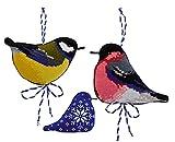 Riolis–Colgante Invierno Pájaros–Juego de Punto de Cruz, algodón, 9x 7cm, 2Unidades de Medida