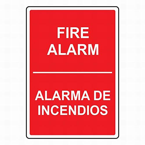 mefoll Notice Sign Garage Tin Metal Sign 8x12 Fire Alarm Alarma De Incendios Sign Safety Sign Warning Sign for Street Road Outdoor Indoor by