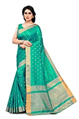 Work :: Classic Indian Style Woven Zari Work Kanjivaram Style Saree With All Over Woven Zari Butti Fabric Details :: Saree - Silk Blend || Blouse - Silk Blend Color :: Saree - Teal || Blouse - Teal Customer Satisfaction :: Free Standard Delivery, Eas...