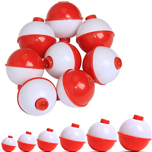 JSHANMEI Fishing Float Fishing Bobbers Set Push Button Snap-on Fishing Floats Bobbers Hard ABS Red/White Round Buoy Fishing Tackle Accessories 0.75inch 15pcs