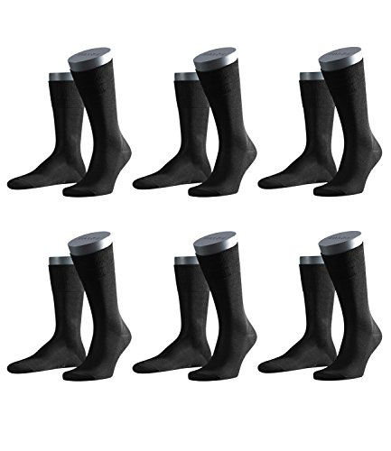 FALKE Herren Business-Socken Tiago 14662 6 Paar, Farbe:Schwarz;Sockengröße:43-44;Artikel:-3000 black