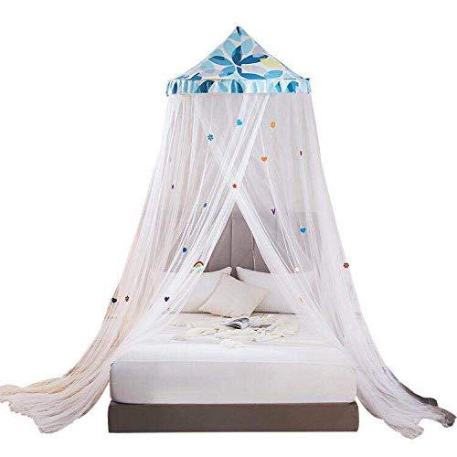 zeenca Mosquitera Cama,Cortina Circular de Malla, Protección Repelente contra Insectos, camping o dormitorio, para cama king sizeHojas azules 0,65 metros de diámetro en la parte superior