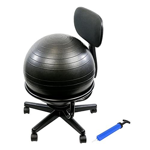 CanDo Metal Ball Chair Inflatable Ergonomic Active Seating Exercise Ball Chair With Air Pump for Home, Office, and Classroom