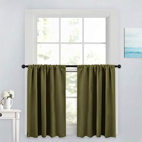 PONY DANCE 36 inches Curtain Valances - Rod Pocket Window Tiers Home Decoration for Christmas Bedroom Noise Reduction and Privacy Protection, 42 x 36 inches, Olive Green, Set of 2