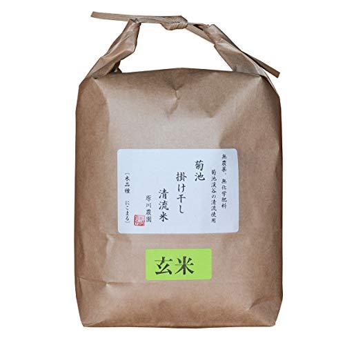 菊池掛け干し清流米(玄米) 原川農園 熊本県 「名水百選」菊池渓谷の水、無農薬、有機肥料で育て、掛け干しで仕上げました