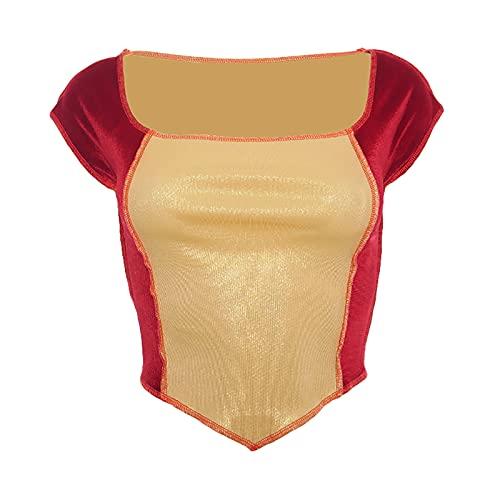 Vialogry Camiseta ajustada para mujer, color rojo vino con manga corta y elástico cuadrado