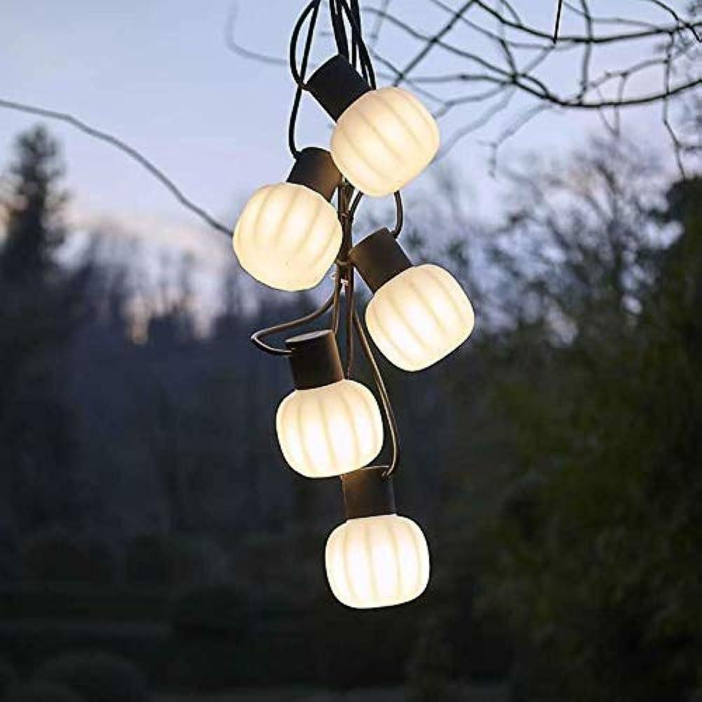 Martinelli luce kiki 5,catenaria di luce a sospensione, per esterno, formata da 5 punti luce,in resina e gomma 21004/5/NE