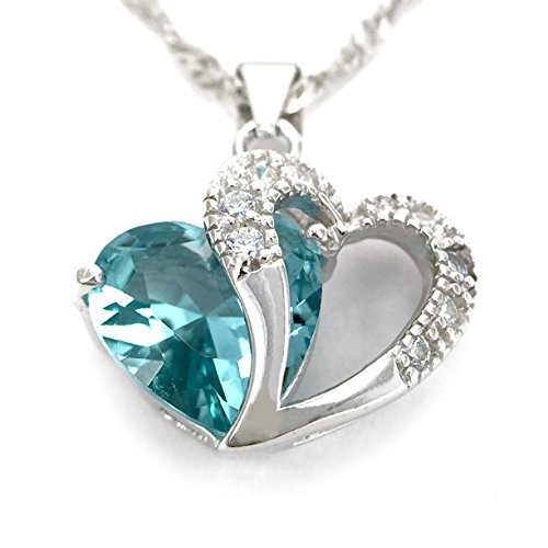 Decorated Blue Sapphire Love Heart Swarovski Swiss Crystal Sterling Silver Pendant Necklace, Comes with Swarovski Jewelry Box