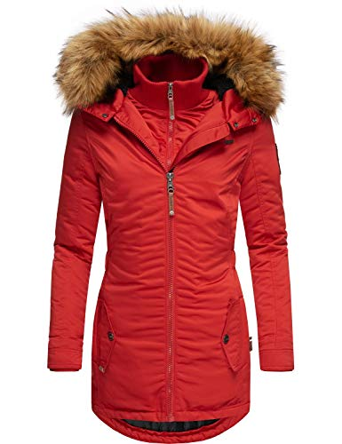Marikoo Damen Wintermantel Winterparka mit abnehmbarem Kunstfell Sanakoo Rot Gr. M