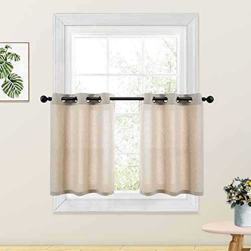 Beige Tier Curtains Linen Textured Kitchen Window 24 inches Long Short Cafe Curtains Bathroom Basement Window Curtain 2 Panels Grommet Top