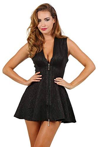 Miss Noir Damen Sexy Kleid mit Jacquardmuster Retro Style Kurzes A-Linie Partykleid Clubwear Minikleid (Schwarz, XXL)