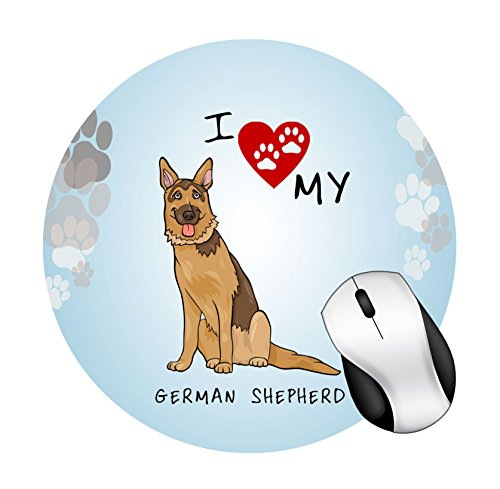 BRGiftShop I Love My German Shepherd Dog Lover Round Mouse Pad