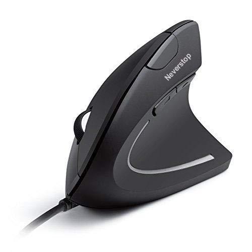 Neverstop Ratón con Cable Vertical, ratón ergonómico óptico con 4 PPP Ajustable 800/1200/2000/3200, 6 Botones USB del Ordenador ratón con 4 Colores de luz LED