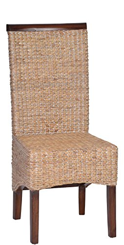MiaMöbel Esszimmerstuhl 47x105x57 cm Modern Massivholz Wasserhyazinthe Mahagoni Hellbraun
