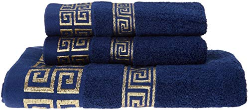 100% Cotton Highly Absorbent Embroidered Towels 3-Piece Towel Set Hotel Bath Towel, 1 Bath Towels, 2 Hand Towels Extra Thick Beach Bath Towels (Blue)