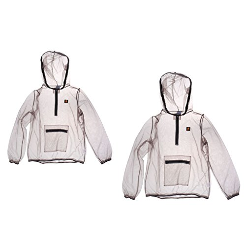 MagiDeal 2pcs Manteau Anti-moustique Abeilles Maille Tissu Léger Répulsif Veste équipement Nuit pour Pêche Apiculture Camping Randonnée