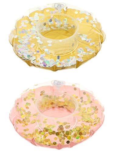 MIK Funshopping Getränkehalter 2er Set Tropical aufblasbar schwimmend mit Glitzer pink goldfarben