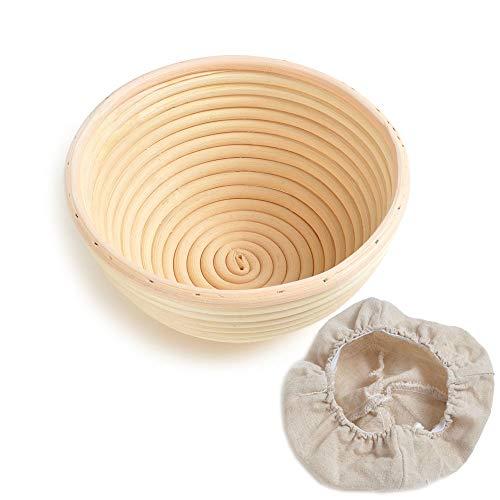 籐製醗酵カゴ パン作りの小道具 裏で 1個セット Bannetons Brotform 【天然籐】 (18x9cm 1個, 円型)