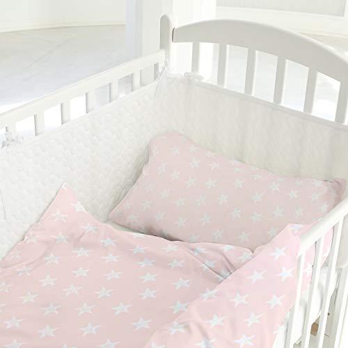 Aminata Kids - Bettwäsche Bettbezug Baby 80x80 Sterne Stern-Motiv 35x40 cm Mädchen - Baumwolle - Bezug rosa weiß - Baby-Bett-Decke für Babybett & Beistellbett, Reißverschluss, Rose