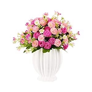 Artificial Flowers with Vase, Carnations Realistic Flower Arrangements Fake Peony Silk Bouquet Hydrangea for Christmas Wedding Decoration Artificial Plant