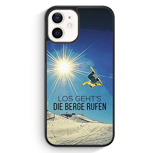 Los Geht's Die Berge Rufen Snowboard - Silikon Hülle für iPhone 12 Mini - Motiv Design Sport Schön - Cover Handyhülle Schutzhülle Case Schale