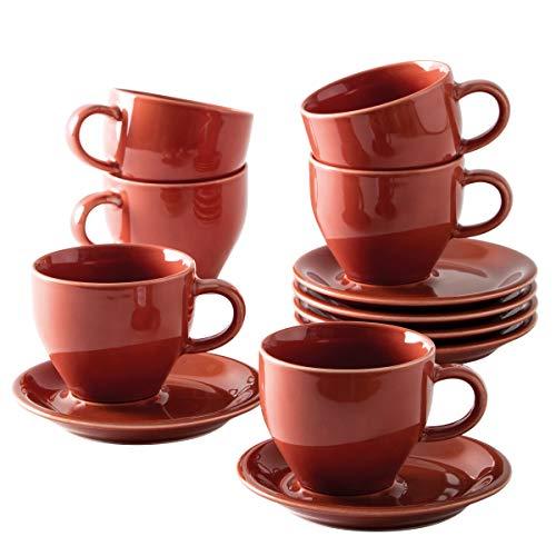 Kahla 1TG175A93020W Homestyle Siena red Milchkaffeetassenset Porzellan Set 12tlg. für 6 Personen