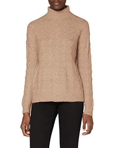 PIECES PCBECKY LS High Neck Cable Knit Noos BC Pullover, Neutro, S Donna